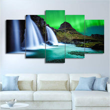 Load image into Gallery viewer, Aurora Iceland 5 Panels Wood N Canvas Wall Art Paintings