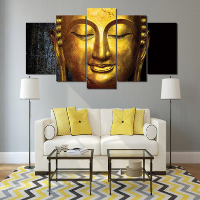 Awakened Buddha 5 Panels Wood N Canvas Wall Art Paintings
