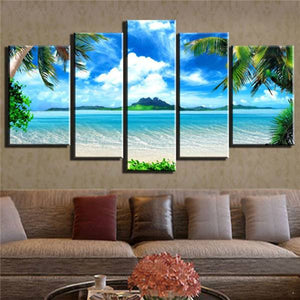 Azure Sky Ocean 5 Panels Wood N Canvas Wall Art Paintings