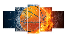 Load image into Gallery viewer, Basketball-1 5 Panels Wood N Canvas Wall Art Paintings