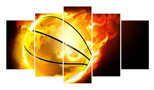Basketball Kids 5 Panels Wood N Canvas Wall Art Paintings