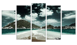 Beach Day 5 Panels Wood N Canvas Wall Art Paintings