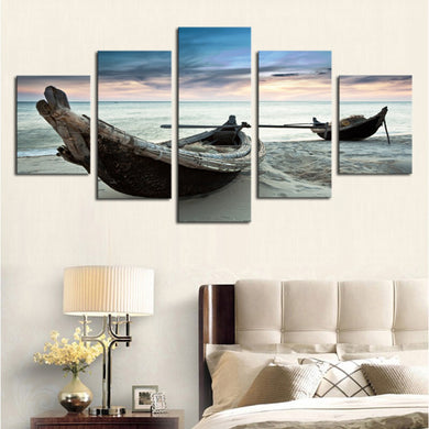 Beach Fishing Boats 5 Panels Wood N Canvas Wall Art Paintings