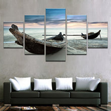 Load image into Gallery viewer, Beach Fishing Boats 5 Panels Wood N Canvas Wall Art Paintings