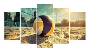 Beach Volley 5 Panels Wood N Canvas Wall Art Paintings