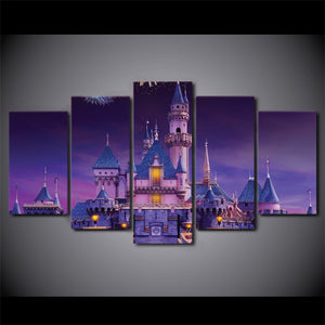Beautiful Castle Abstract 5 Panels Wood N Canvas Wall Art Paintings