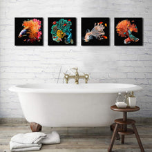 Load image into Gallery viewer, Beautiful Fish 4 Panels Wood N Canvas Wall Art Paintings