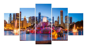 Beautiful Fountain 5 Panels Wood N Canvas Wall Art Paintings
