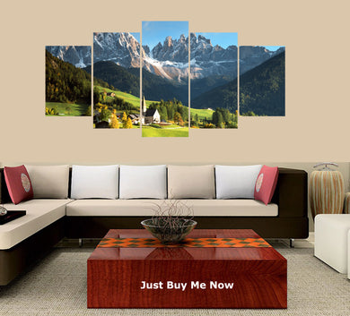 Beautiful Mountains 5 Panels Wood N Canvas Wall Art Paintings