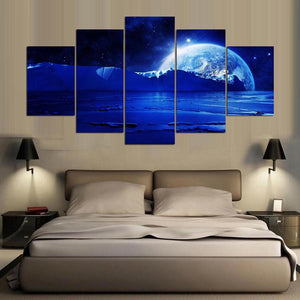 Beautiful Planets 5 Panels Wood N Canvas Wall Art Paintings