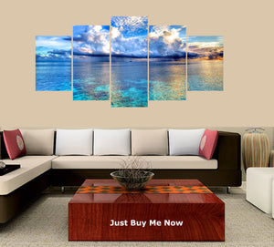 Beautiful Sea 5 Panels Wood N Canvas Wall Art Paintings