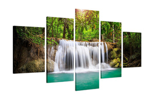 Beautiful Waterfall 5 Panels Wood N Canvas Wall Art Paintings