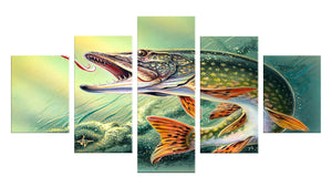 Big Fish 5 Panels Wood N Canvas Wall Art Paintings