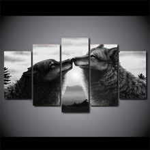 Load image into Gallery viewer, Black Couple Wolf Canvas 5 Panels Wood N Canvas Wall Art Paintings