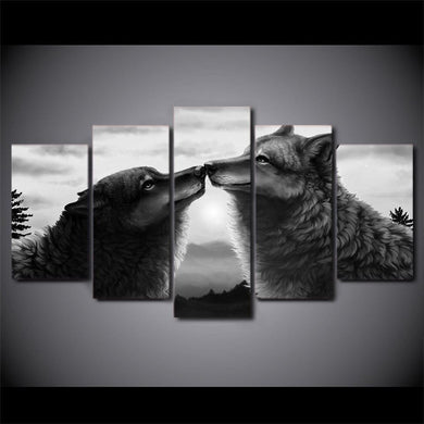 Black Couple Wolf Canvas 5 Panels Wood N Canvas Wall Art Paintings