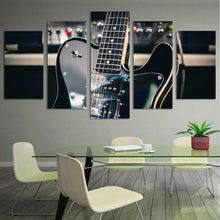Load image into Gallery viewer, Black Guitar 5 Panels Wood N Canvas Wall Art Paintings