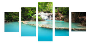 Blue Lack 5 Panels Wood N Canvas Wall Art Paintings