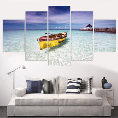 Blue Ocean Yellow Boat Seascape 5 Panels Wood N Canvas Wall Art Paintings