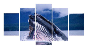 Blue Whale 5 Panels Wood N Canvas Wall Art Paintings