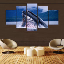 Load image into Gallery viewer, Blue Whale 5 Panels Wood N Canvas Wall Art Paintings