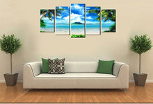 Load image into Gallery viewer, Blue Sea Beach 5 Panels Wood N Canvas Wall Art Paintings