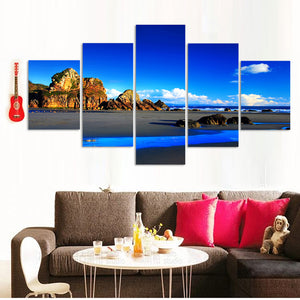 Blue sky landscape 5 Panels Wood N Canvas Wall Art Paintings