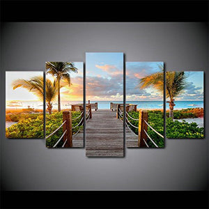 Boardwalk to Paradise 5 Panels Wood N Canvas Wall Art Paintings