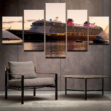 Boat-2 5 Panels Wood N Canvas Wall Art Paintings