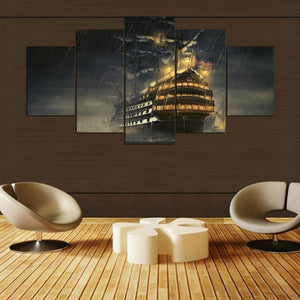Boat 5 Panels Wood N Canvas Wall Art Paintings