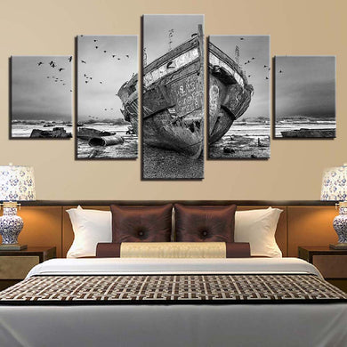 Boat Fashion 5 Panels Wood N Canvas Wall Art Paintings