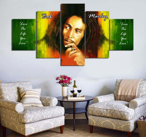 Bob Marley 5 Panels Wood N Canvas Wall Art Paintings
