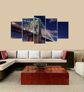 Brooklyn Bridge 5 Panels Wood N Canvas Wall Art Paintings
