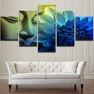 Buddha-2 5 Panels Wood N Canvas Wall Art Paintings