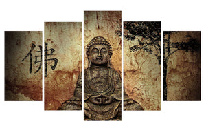 Buddha-3 5 Panels Wood N Canvas Wall Art Paintings