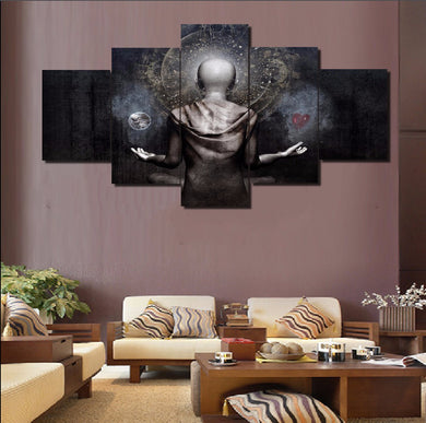 Buddha-7 5 Panels Wood N Canvas Wall Art Paintings