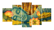 Load image into Gallery viewer, Buddha And Flower 5 Panels Wood N Canvas Wall Art Paintings
