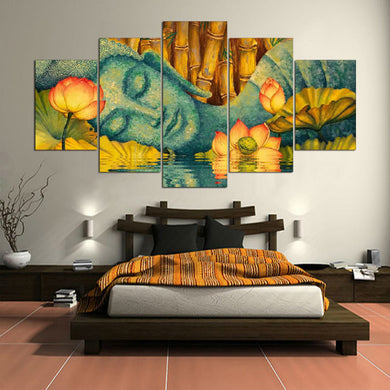 Buddha And Flower 5 Panels Wood N Canvas Wall Art Paintings