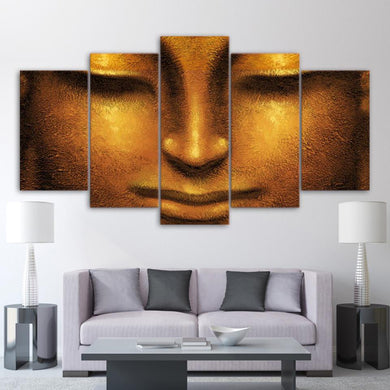 Buddha Close Up 5 Panels Wood N Canvas Wall Art Paintings