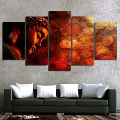 Buddha Enlightenment 5 Panels Wood N Canvas Wall Art Paintings