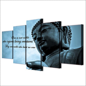 Buddha Insight 5 Panels Wood N Canvas Wall Art Paintings