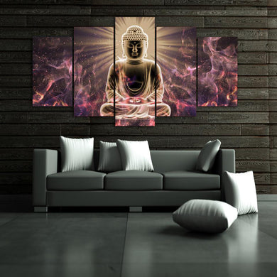 Buddha Meditation 5 Panels Wood N Canvas Wall Art Paintings