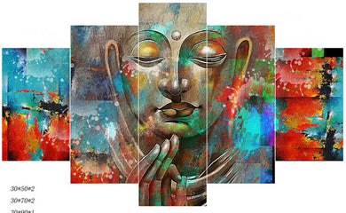 Buddha Quadro Unique 5 Panels Wood N Canvas Wall Art Paintings