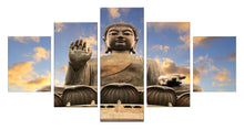 Load image into Gallery viewer, Buddha Statue 5 Panels Wood N Canvas Wall Art Paintings