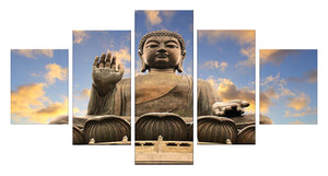 Buddha Statue 5 Panels Wood N Canvas Wall Art Paintings