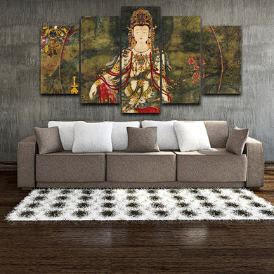 Buddha Statue Of The Tibetan King 5 Panels Wood N Canvas Wall Art Paintings