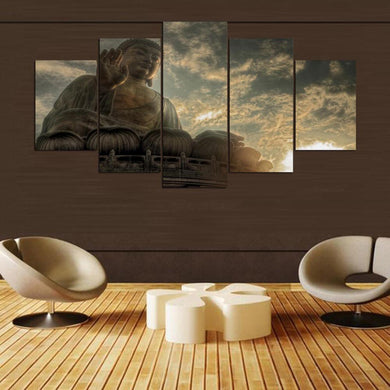 Buddha big 5 Panels Wood N Canvas Wall Art Paintings