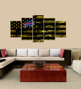Buffalo Bills logo 5 Panels Wood N Canvas Wall Art Paintings