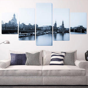 Building And Boat 5 Panels Wood N Canvas Wall Art Paintings