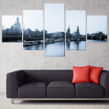 Load image into Gallery viewer, Building And Boat 5 Panels Wood N Canvas Wall Art Paintings