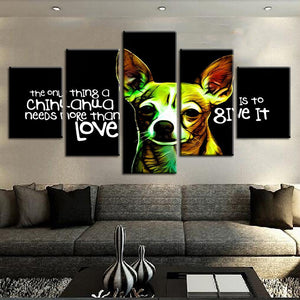 Chihuahua Love 5 Panels Wood N Canvas Wall Art Paintings